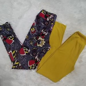 NEW Disney & Solid Yellow Tween Leggings LuLaRoe